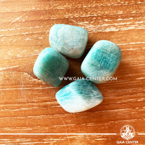 Amazonite from India tumbled stones, size 20-30mm. Crystals and Gemstone selection at GAIA CENTER | Cyprus.