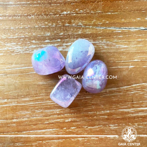 Amethyst Aura tumbled stones, size 15-25mm. Crystals and Gemstone selection at GAIA CENTER | Cyprus.