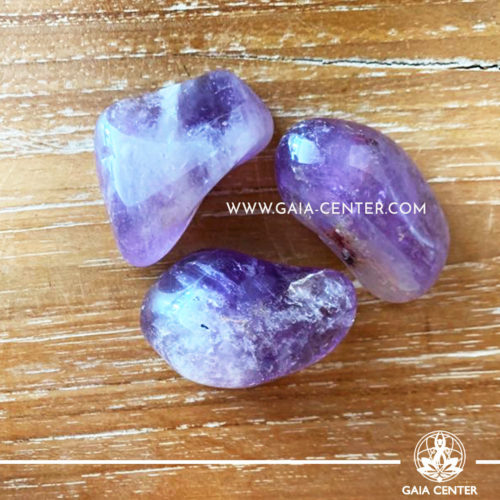 Amethyst Quartz tumbled stones from Brazil, size 40-50mm. Crystals and Gemstone selection at GAIA CENTER | Cyprus.