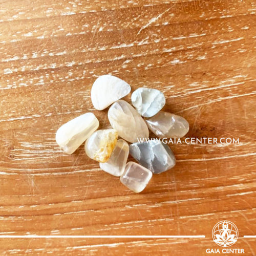 Moonstone tumbled stones, size 10mm. Crystals and Gemstone selection at GAIA CENTER | Cyprus.