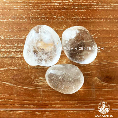 Rock Crystal from Brazil Tumbled Stones, size 30-40mm. Crystals and Gemstone selection at GAIA CENTER | Cyprus.