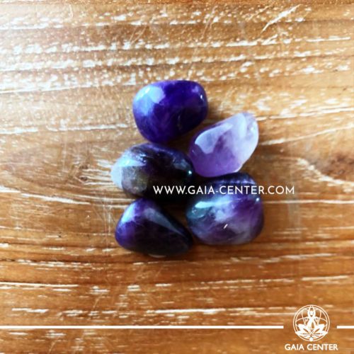 Mixed Dark Amethyst Tumbled Stones, size 10-20mm. Crystals and Gemstone selection at GAIA CENTER | Cyprus.