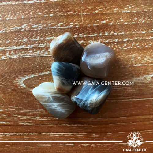 Moonstone Black Tumbled Stones, size 20-30mm. Crystals and Gemstone selection at GAIA CENTER | Cyprus.