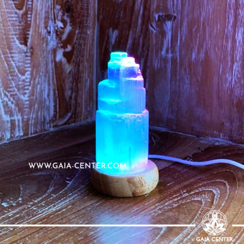 Selenite Crystal Lamp white color with led light fitting and USB cable. Size 10cm and approx. weight is 450g. Himalayan Salt Crystal Lamps and Selenite Lamps selection at Gaia Center   Cyprus.