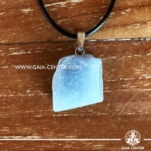 Gemstone pendant - Blue Calcite Rough / Raw Quartz crystal pendant with adjustable cord or string. Crystal and Gemstone Jewellery selection at GAIA CENTER in Cyprus.