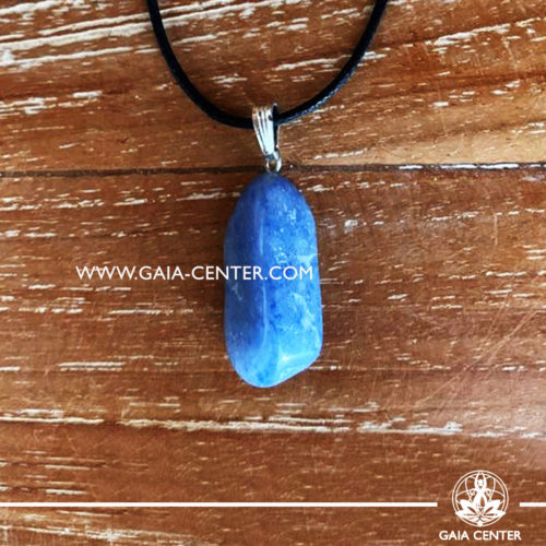 Crystal pendant - Blue Quartz gemstone pendant pin drilled with adjustable cord. Crystal and Gemstone Jewellery selection at GAIA CENTER in Cyprus.