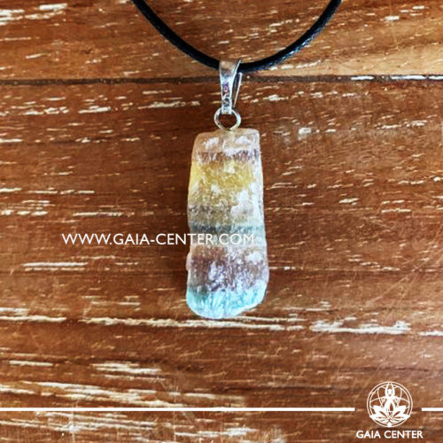 Gemstone pendant - Rainbow Fluorite Rough / Raw Quartz crystal pendant with adjustable cord or string. Crystal and Gemstone Jewellery selection at GAIA CENTER in Cyprus.