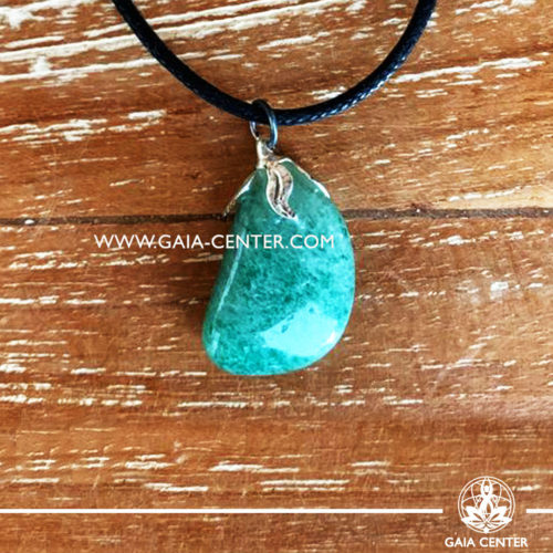 Crystal pendant - Green Aventurine gemstone pendant pin drilled with metal flower and adjustable cord. Crystal and Gemstone Jewellery selection at GAIA CENTER in Cyprus.
