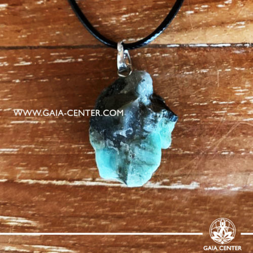 Gemstone pendant - Green Emerald Rough / Raw Quartz crystal pendant with adjustable cord or string. Crystal and Gemstone Jewellery selection at GAIA CENTER in Cyprus.