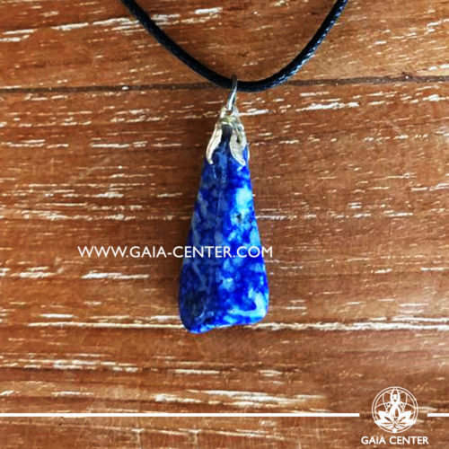 Crystal pendant - Blue Lapis Lazuli gemstone pendant pin drilled with metal flower and adjustable cord. Crystal and Gemstone Jewellery selection at GAIA CENTER in Cyprus.