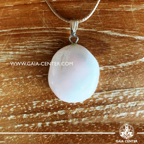 Crystal pendant - Mangano Calcite gemstone pendant pin drilled with adjustable cord. Crystal and Gemstone Jewellery selection at GAIA CENTER in Cyprus.