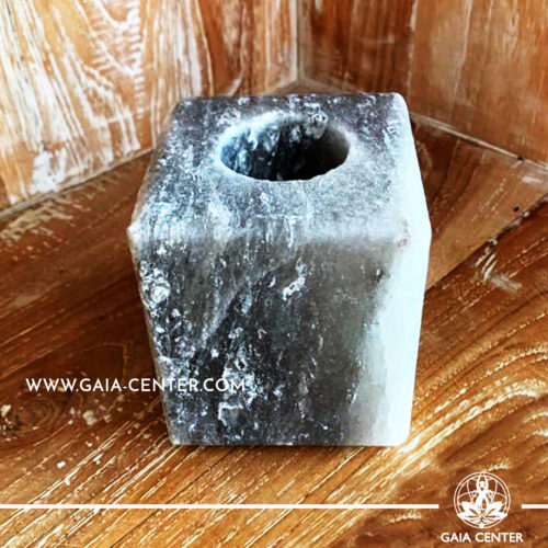 Crystal Salt Tea Light Candle Holder - Grey Cube. Crystal and Gemstone selection at Gaia Center | Cyprus.