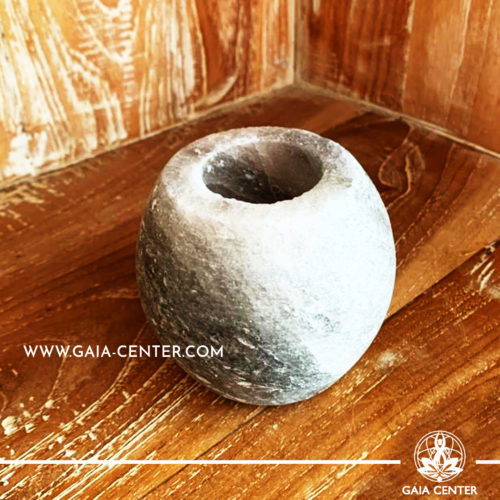 Crystal Salt Tea Light Candle Holder - Grey Sphere. Crystal and Gemstone selection at Gaia Center | Cyprus.